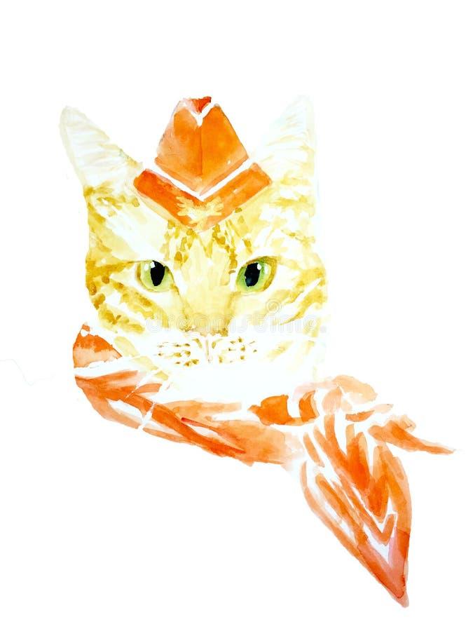 Sorvegliante di volo del gatto nell'illustrazione arancio rossa dell'acquerello del gatto dello zenzero del cappuccio della sciar illustrazione di stock