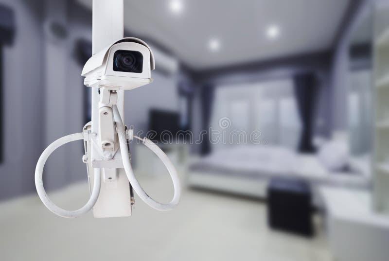 Sorveglianza della macchina fotografica del CCTV che funziona con la camera da letto immagini stock