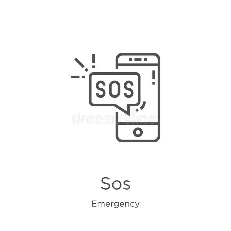 sos从紧急收藏的象传染媒介 稀薄的线sos概述象传染媒介例证 概述,稀薄的线网站的sos象 向量例证