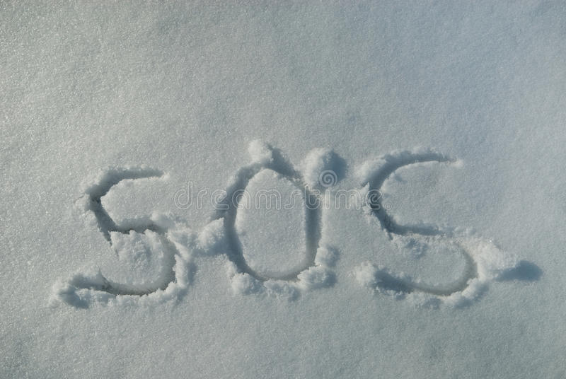SOS χιονιού στοκ εικόνες