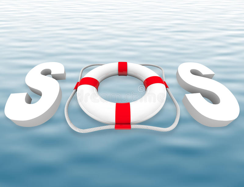 SOS - Conservateur de durée sur la surface de l'eau illustration stock