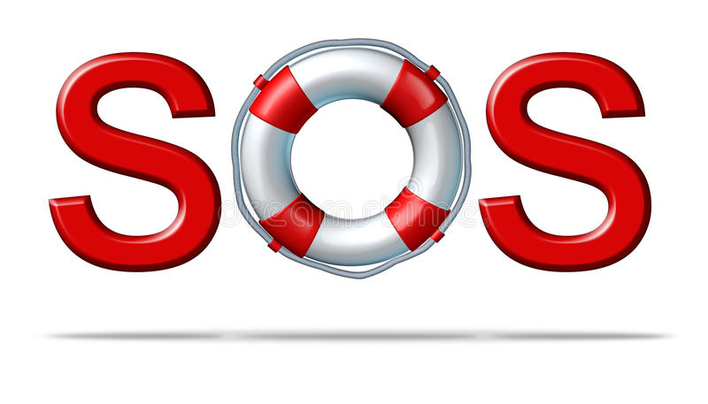 SOS Help. Help SOS symbol with a life preserver as the letter o representing emergency services and rescue assistance insurance for protection and safety from