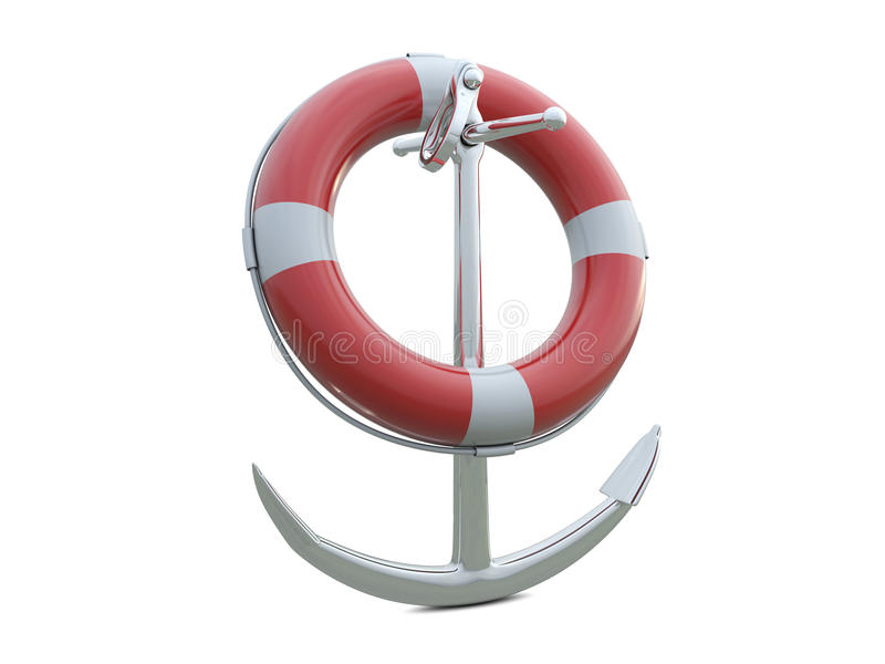 Download SOS life belt and anchor stock illustration. Image of illustration - 14695696