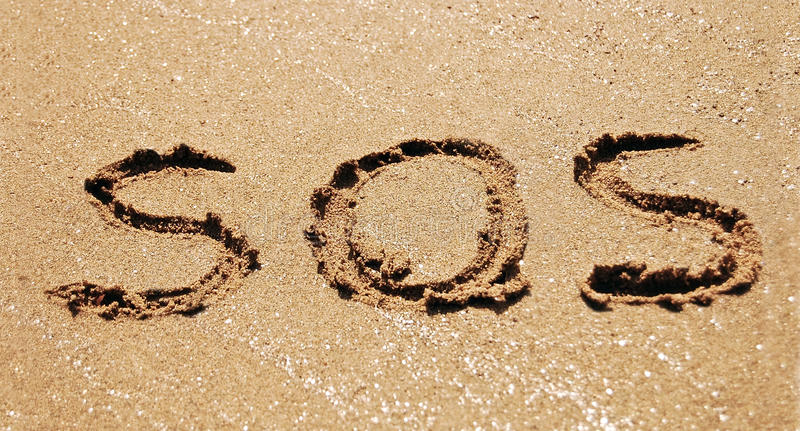Sos in sand stock photos