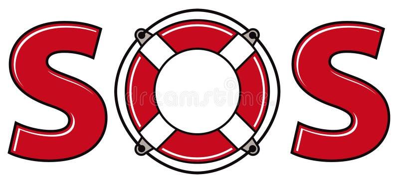 SOS sygnał z życie pierścionkiem ilustracja wektor