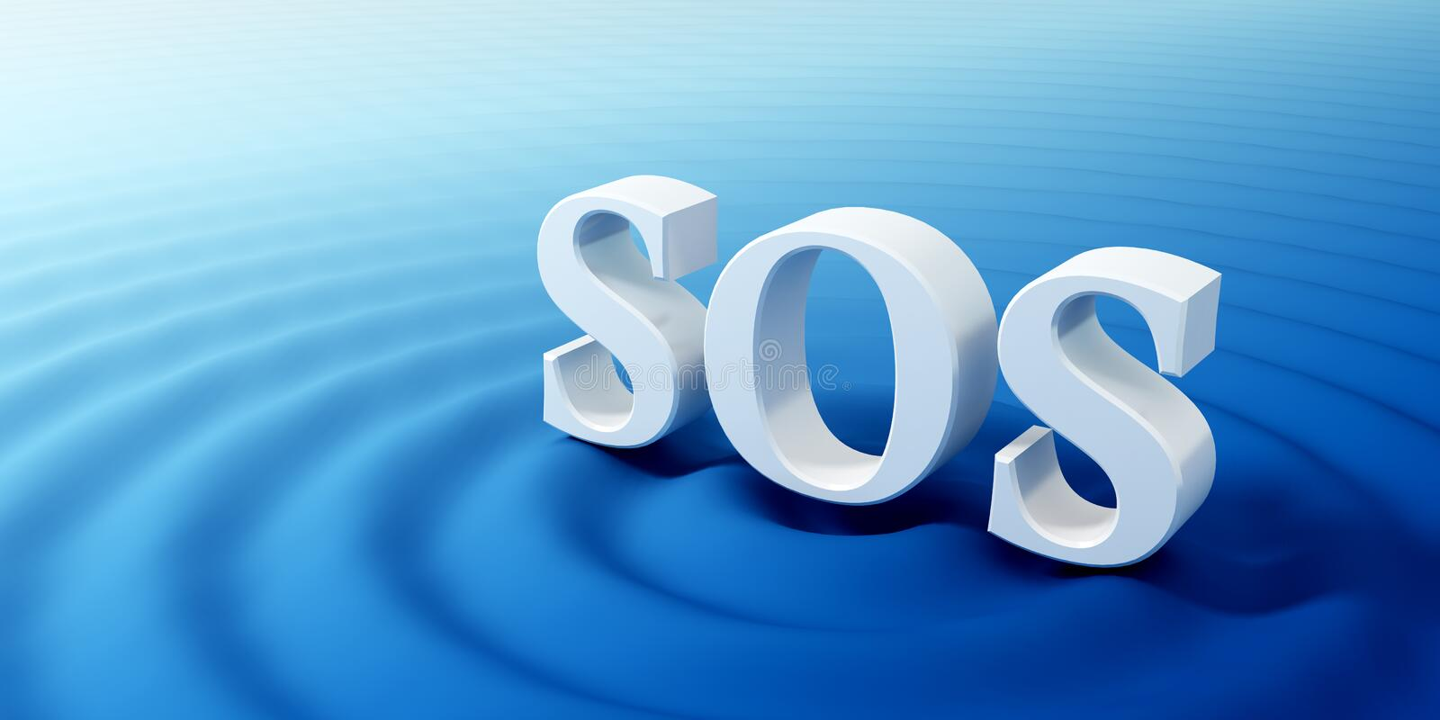 SOS symbol. Concept of the SOS symbol sinking in the ocean royalty free illustration