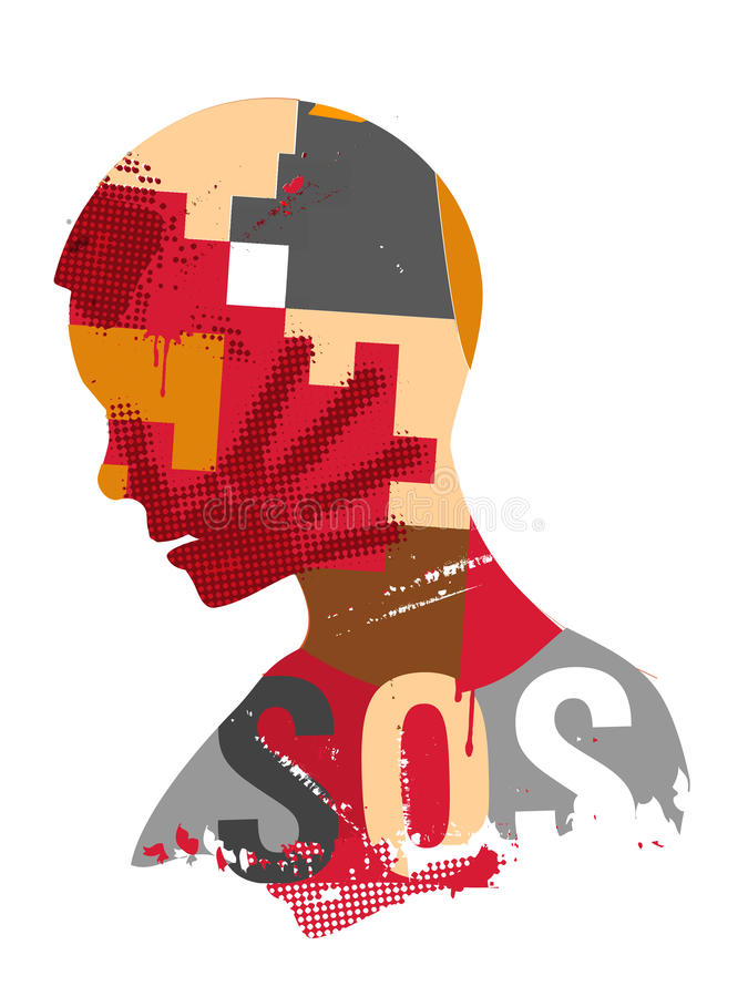 SOS Violence in the world. Human head silhouette with hand print on the face symbolizing violence in the world. Vector available vector illustration