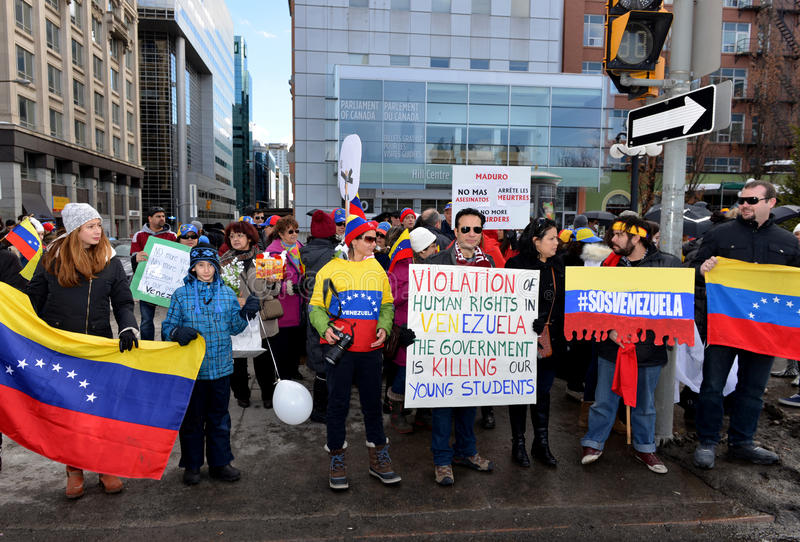 SOS Wenezuela protest w Ottawa zdjęcia stock