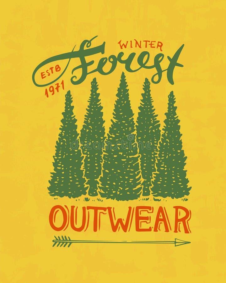 Sosna logo Campingowa etykietka Ono potyka się w lasowym, plenerowy, i przygoda i sosny Barwiona odznaka na royalty ilustracja