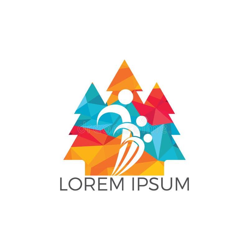 Sosna logo projekta ludzie ilustracja wektor