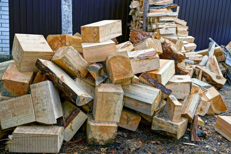 Sosnowy drewno w jardzie blisko domu zdjęcie royalty free