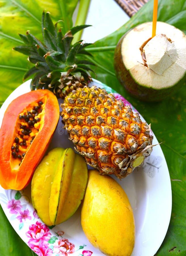 Sosnowy jabłczany melonowa corambola mango i koks zdjęcie royalty free