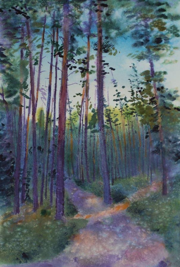 Sosnowy las przy półmrokiem royalty ilustracja