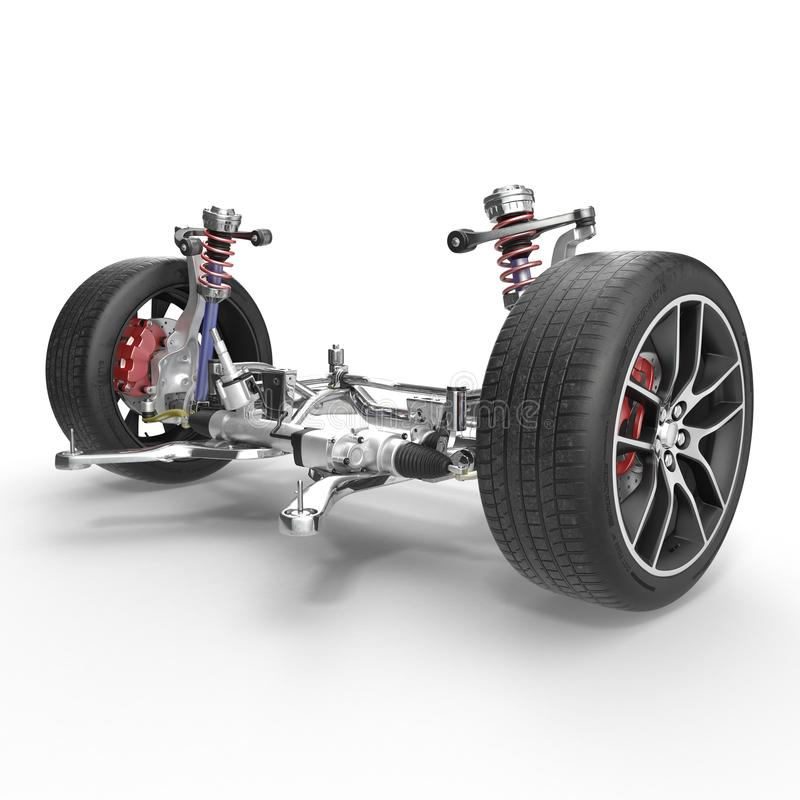 Sospensione anteriore con la ruota dell'automobile dell'azionamento Nuova gomma Su bianco illustrazione 3D illustrazione di stock