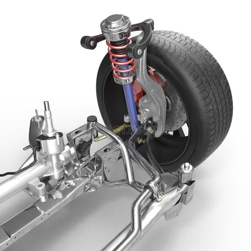 Sospensione anteriore con la ruota dell'automobile dell'azionamento Nuova gomma Su bianco illustrazione 3D fotografia stock