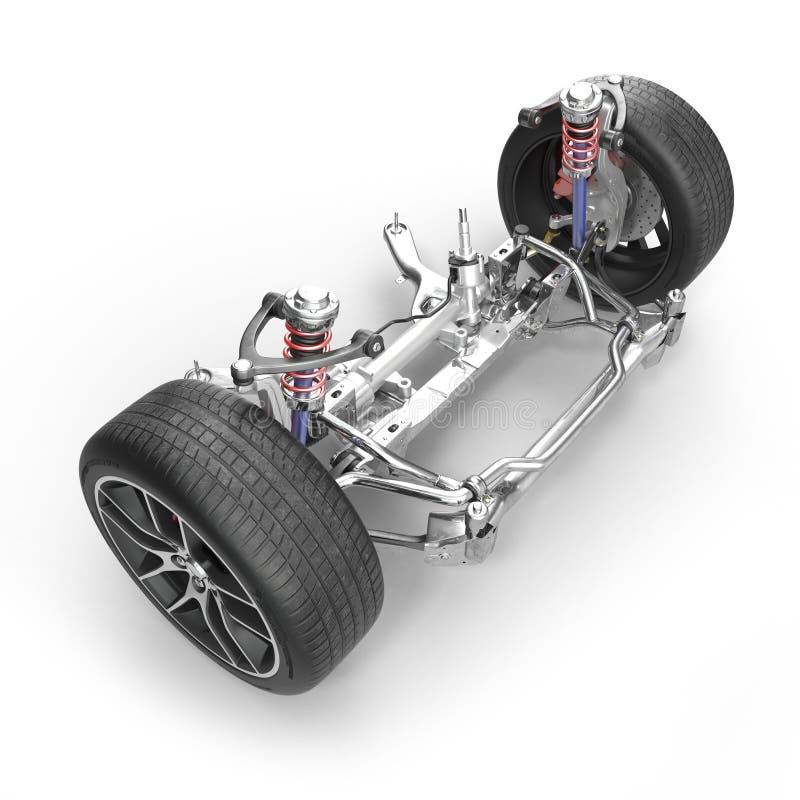 Sospensione anteriore della berlina con la nuova gomma su bianco illustrazione 3D illustrazione di stock