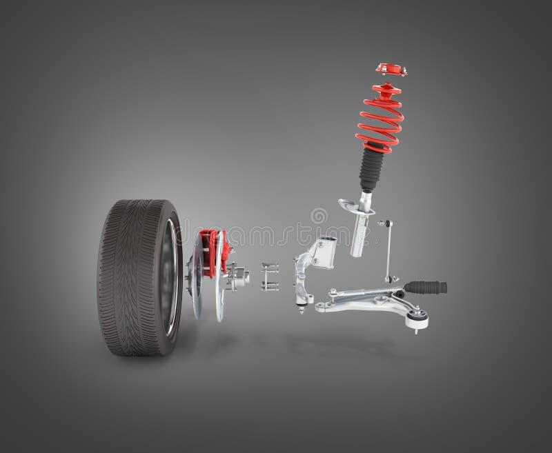 Sospensione dell'automobile in dettaglio con la ruota sul fondo nero 3d di pendenza royalty illustrazione gratis