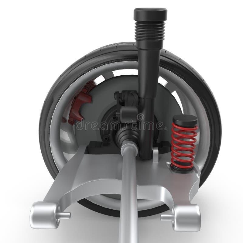 Sospensione posteriore dell'automobile con la ruota isolata sull'illustrazione bianca del fondo 3D fotografia stock libera da diritti