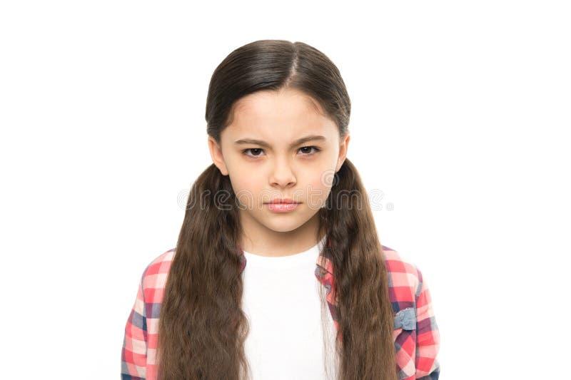 Sospetto della ragazza del bambino voi Vendetta brutale Occhiata odiosa del bambino infelice Qualcuno merita la vendetta di puniz fotografia stock