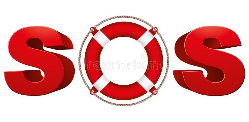 SOSsignal med livcirkeln royaltyfri illustrationer