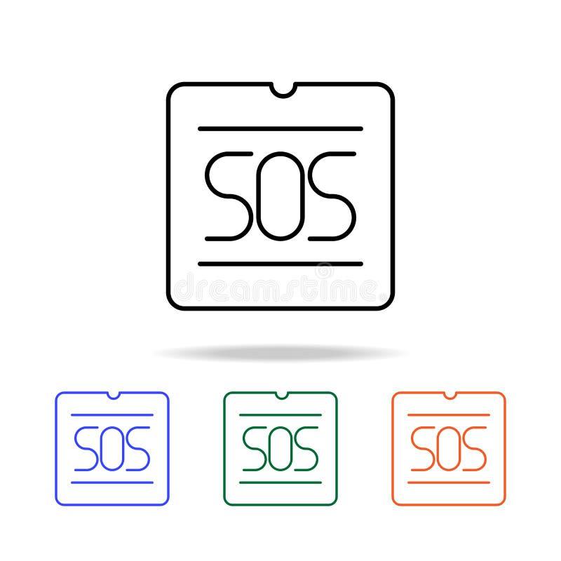 SOSsignalsymbol Beståndsdelar av den enkla rengöringsduksymbolen i mång- färg Högvärdig kvalitets- symbol för grafisk design Enke stock illustrationer