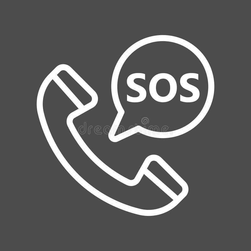 SOSsymbol, logoillustration, linje megafon, perfekt PIXEL, eps 8 vektor illustrationer
