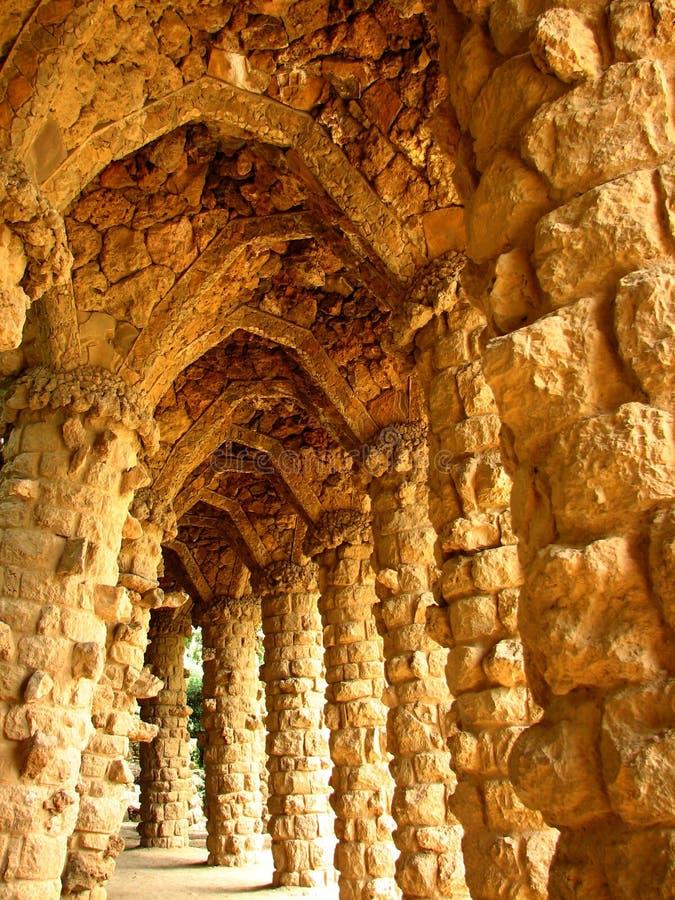 Sosta di Guell di Barcellona Gaudi immagini stock libere da diritti