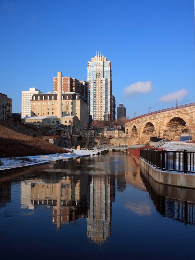 Sosta di rovina della città del laminatoio a Minneapolis immagini stock libere da diritti