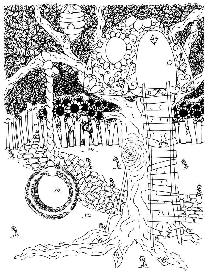 Sosta esterno cortile oscillazione Ruota Infanzia Casa sull'albero Illustrazione di vettore Disegno di scarabocchio Esercizio med royalty illustrazione gratis