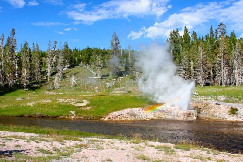 Sosta nazionale del Yellowstone del geyser della riva del fiume fotografia stock libera da diritti