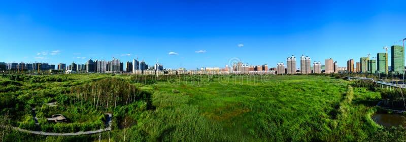 Sosta urbana nazionale dell'area umida di Qunli fotografie stock libere da diritti