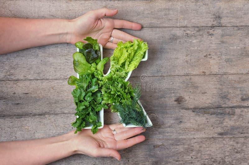 Sostanza nutriente di vitamina K nel concetto dell'alimento Le mani della donna che tengono la lettera K hanno modellato il piatt immagini stock libere da diritti