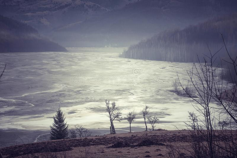 Sostanze di inquinamento in lago residuo immagine stock