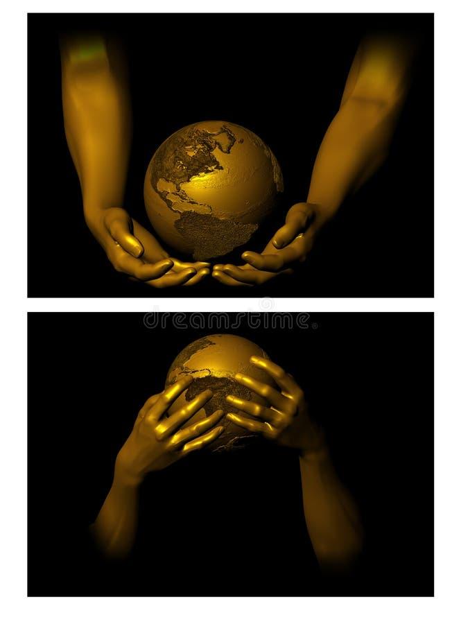 Sostener el globo stock de ilustración