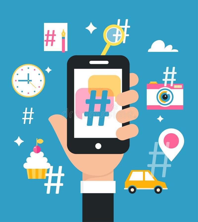 Sostener el teléfono elegante con la muestra de Hashtag Medios concepto social de la estrategia de marketing stock de ilustración