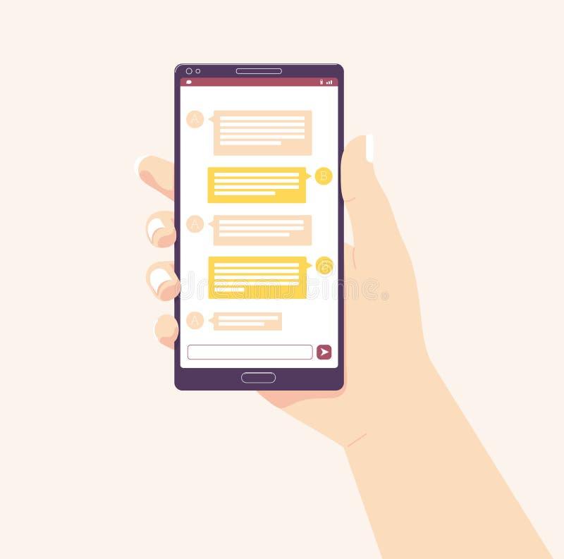 Sostener el teléfono móvil Ilustración del vector Red social de los media reciba los mensajes Chating y concepto de la mensajería libre illustration