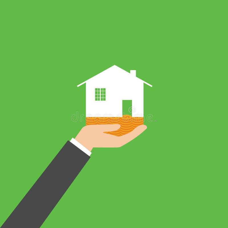 Sostener la casa que representa la casa en propiedad y el negocio de Real Estate, vector stock de ilustración
