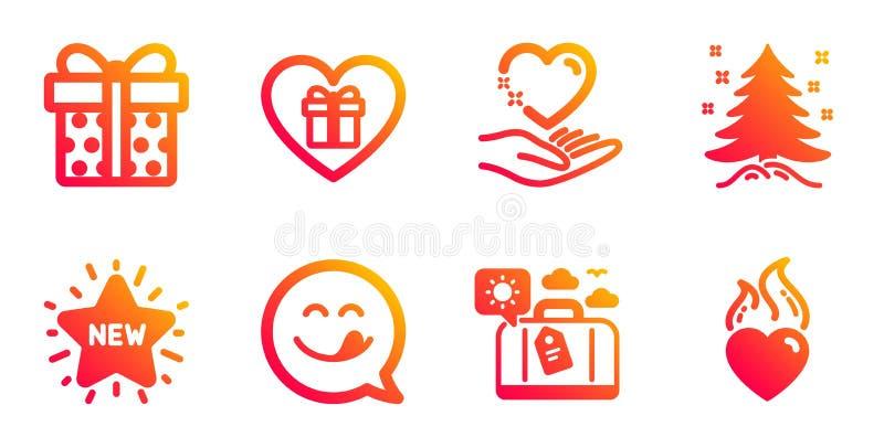 Sostenga el corazón, el equipaje del viaje y sistema de los iconos de la caja de regalo Nueva estrella, árbol de navidad y muestr ilustración del vector