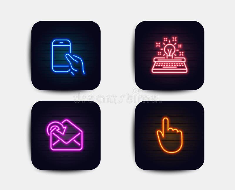 Sostenga el smartphone, reciba el correo y los iconos de la máquina de escribir Muestra del tecleo de la mano Llamada de teléfono ilustración del vector