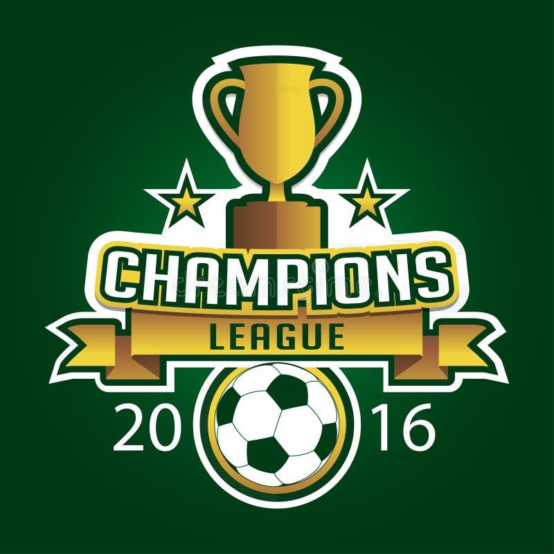Sostenga il grafico del distintivo dell'emblema di logo della lega di calcio con il trofeo illustrazione vettoriale