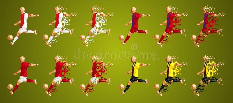 Sostenga il gruppo la E, le uniformi variopinte dei calciatori, 4 t della lega del ` s illustrazione di stock