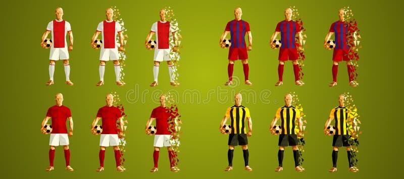 Sostenga il gruppo la E, le uniformi variopinte dei calciatori, 4 t della lega del ` s illustrazione vettoriale