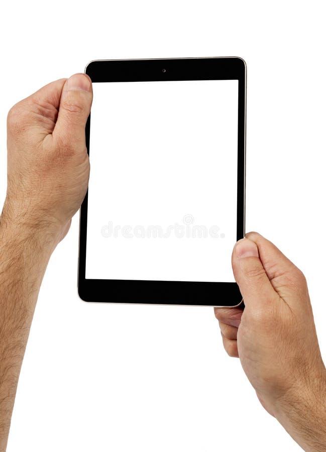 Sosteniendo la tableta de Digitaces vertical fotografía de archivo