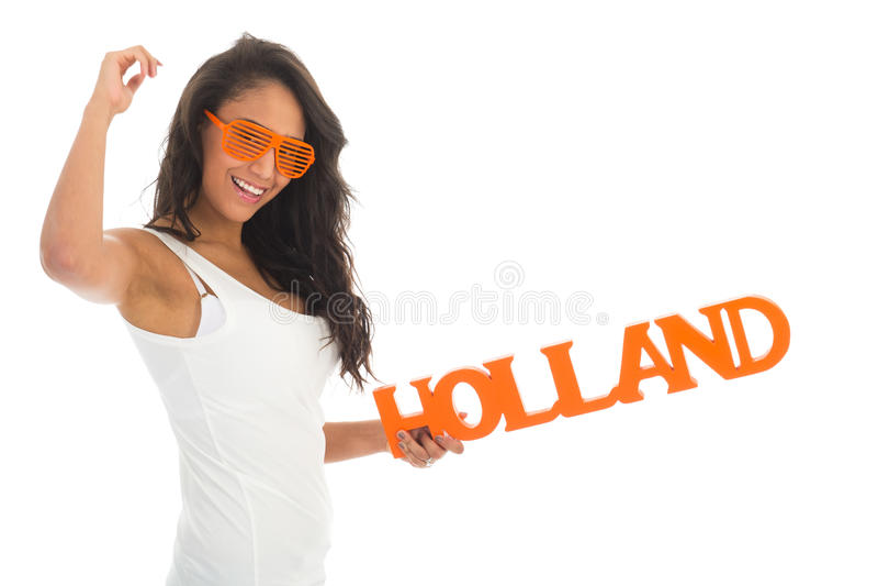 Sostenitore che incoraggia per l'Olanda immagine stock
