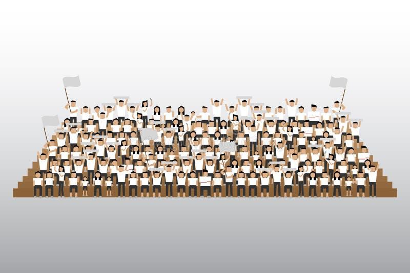 Sostenitore del gruppo sul supporto dei sedili dello stadio illustrazione vettoriale