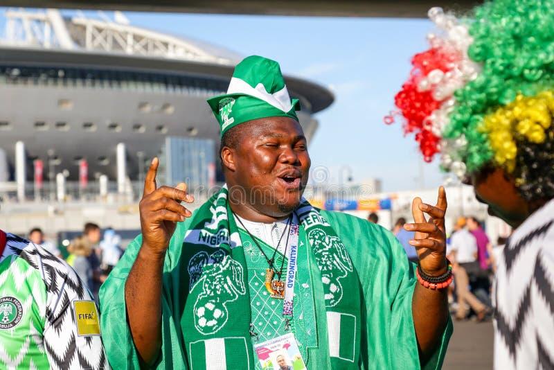Sostenitore emozionale del gruppo di calcio nazionale della Nigeria fotografie stock libere da diritti