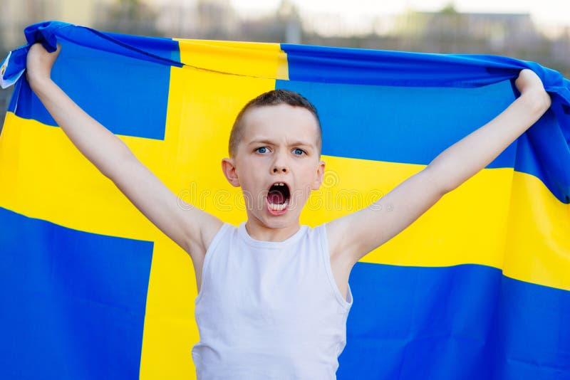 Sostenitore nazionale della squadra di football americano della Svezia fotografie stock