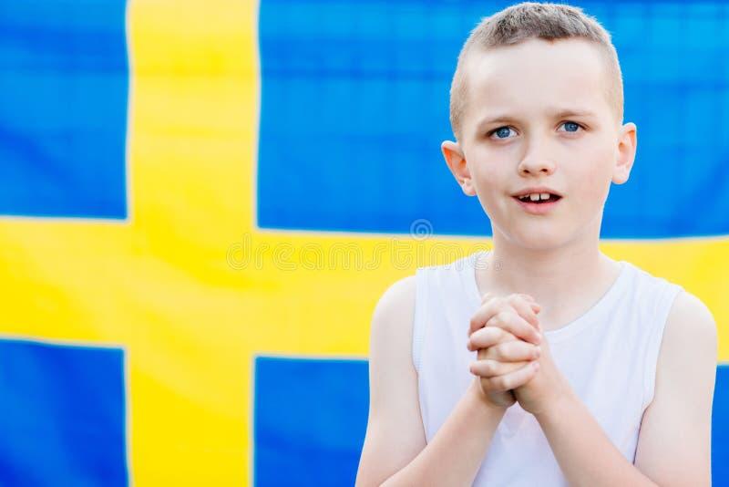 Sostenitore nazionale della squadra di football americano della Svezia immagine stock