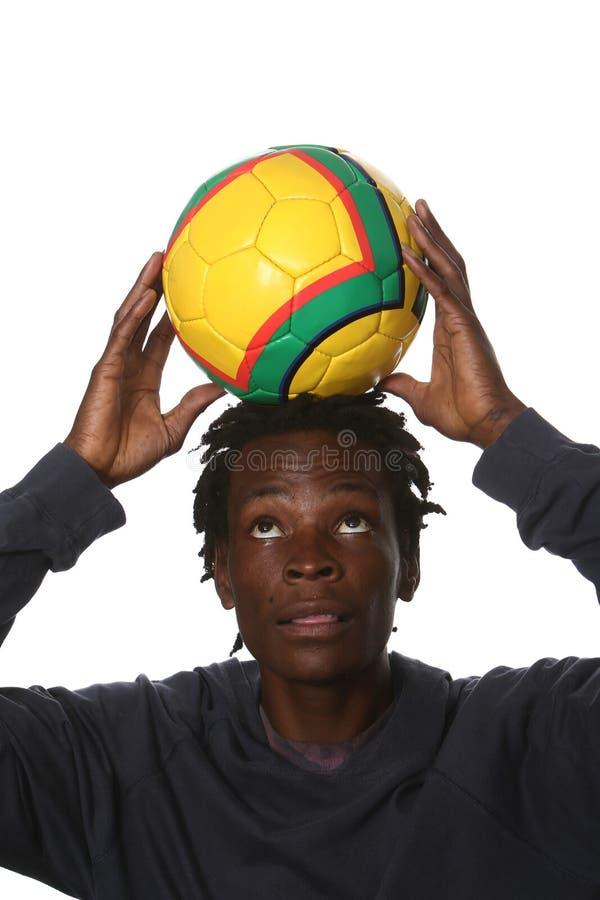 Sostenitore nero di gioco del calcio fotografia stock