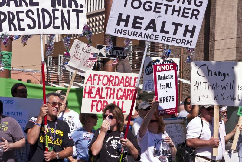 Sostenitori di dimostrazione di sanità di Obama immagini stock libere da diritti